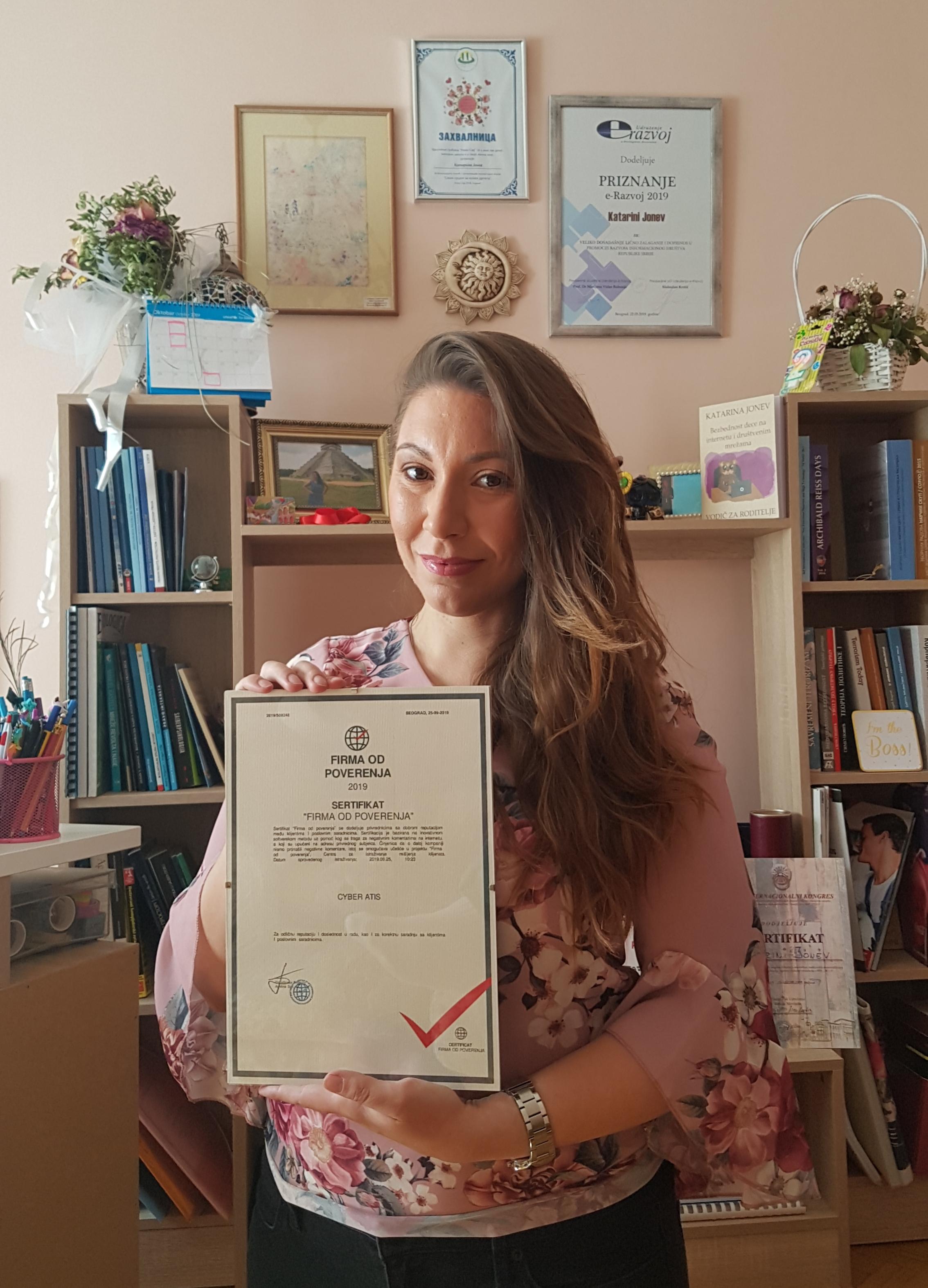 Cyber Atis dobitnik nagrade ,,Firma od poverenja'' za 2019. godinu